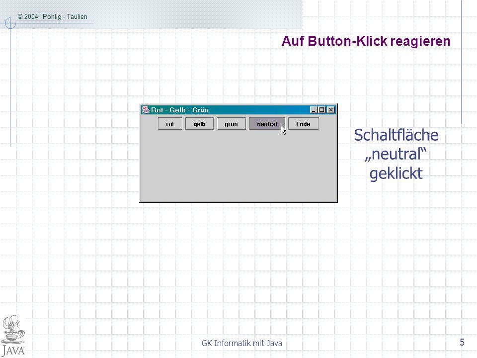 © 2004 Pohlig - Taulien GK Informatik mit Java 5 Auf Button-Klick reagieren Schaltfläche neutral geklickt