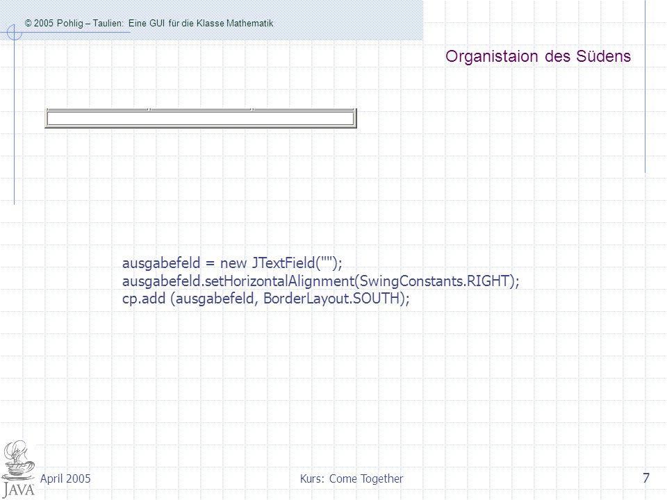 © 2005 Pohlig – Taulien: Eine GUI für die Klasse Mathematik Kurs: Come Together 8 April 2005 Die Methode actionPerformed(ActionEvent e) public void actionPerformed(ActionEvent e) { int eingabeA=Integer.parseInt(eingabeFeldA.getText()); int eingabeB=Integer.parseInt(eingabeFeldB.getText()); int eingabeC=Integer.parseInt(eingabeFeldC.getText()); Object obj=e.getSource(); if (obj==buttonggT){ ausgabefeld.setText( + Mathematik.ggT(eingabeA, eingabeB)); } else if (obj==buttonkgV){ ausgabefeld.setText( + Mathematik.kgV(eingabeA, eingabeB)); } … else if (obj==buttonQuadGl){ ausgabefeld.setText( + Mathematik.loeseQuadGl(eingabeA, eingabeB, eingabeC)); } Auslesen der Textfelder Wer hat das Ereignis ausgelöst.