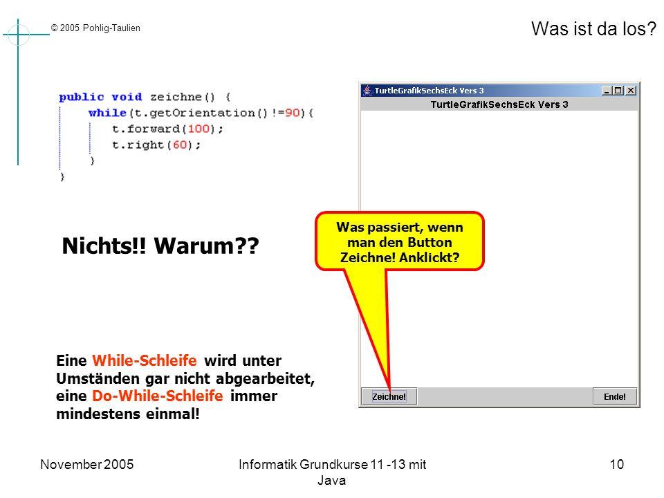 © 2005 Pohlig-Taulien November 2005Informatik Grundkurse 11 -13 mit Java 10 Was ist da los? Nichts!! Warum?? Was passiert, wenn man den Button Zeichne