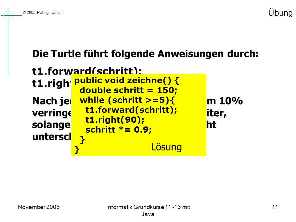 © 2005 Pohlig-Taulien November 2005Informatik Grundkurse 11 -13 mit Java 11 Übung Die Turtle führt folgende Anweisungen durch: t1.forward(schritt); t1