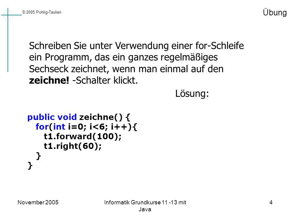 © 2005 Pohlig-Taulien November 2005Informatik Grundkurse 11 -13 mit Java 4 Übung Schreiben Sie unter Verwendung einer for-Schleife ein Programm, das e