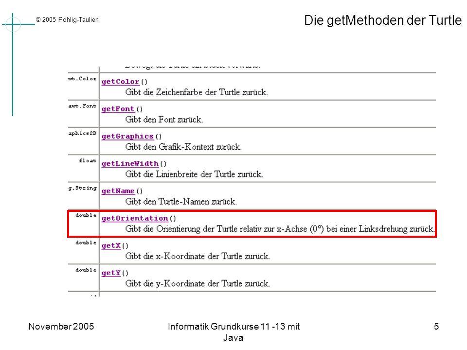 © 2005 Pohlig-Taulien November 2005Informatik Grundkurse 11 -13 mit Java 5 Die getMethoden der Turtle