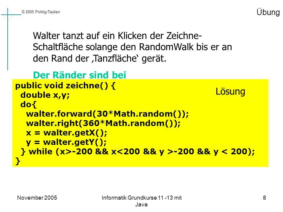 © 2005 Pohlig-Taulien November 2005Informatik Grundkurse 11 -13 mit Java 8 Übung Walter tanzt auf ein Klicken der Zeichne- Schaltfläche solange den Ra