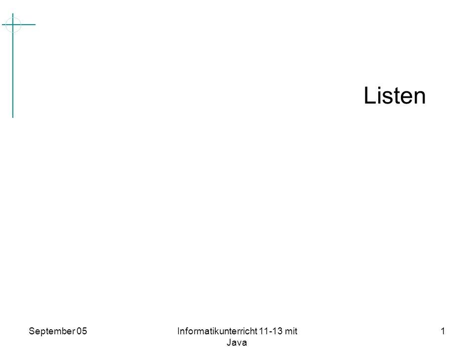 September 05Informatikunterricht 11-13 mit Java 2 Größe des Feldes Datentypen Was sind Listen.