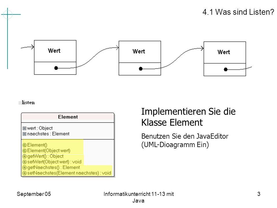 September 05Informatikunterricht 11-13 mit Java 4 package listen; public class Element { protected Object wert; protected Element naechstes; public Element(){ wert = null; naechstes = null; } public Element(Object wert){ setWert(wert); naechstes = null; } public Object getWert() { return wert; } public void setWert(Object wert) { this.wert = wert; } public Element getNaechstes() { return naechstes; } public void setNaechstes(Element naechstes) { this.naechstes = naechstes; } } Quelltext