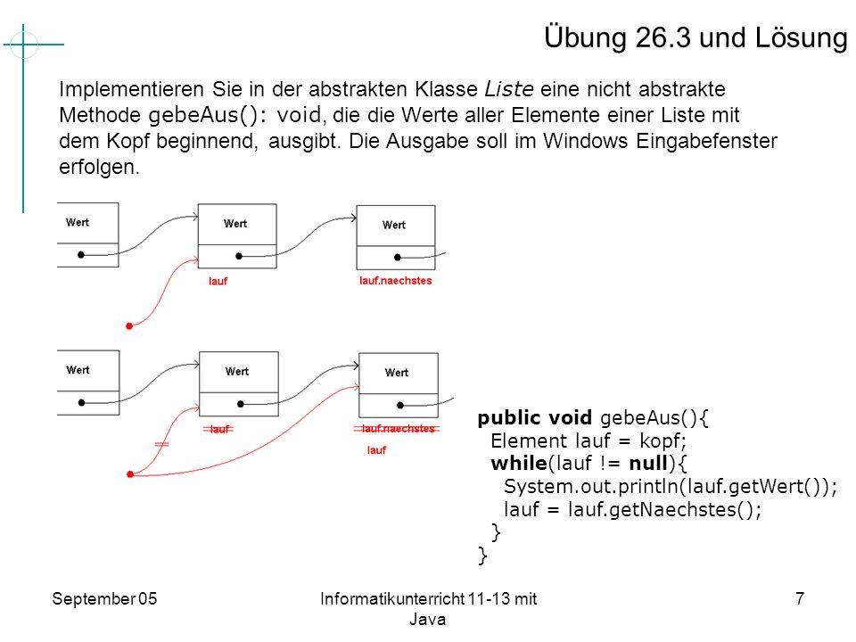 September 05Informatikunterricht 11-13 mit Java 7 Übung 26.3 und Lösung Implementieren Sie in der abstrakten Klasse Liste eine nicht abstrakte Methode