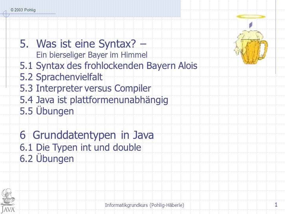 © 2003 Pohlig Informatikgrundkurs (Pohlig-Häberle) 1 5.Was ist eine Syntax.