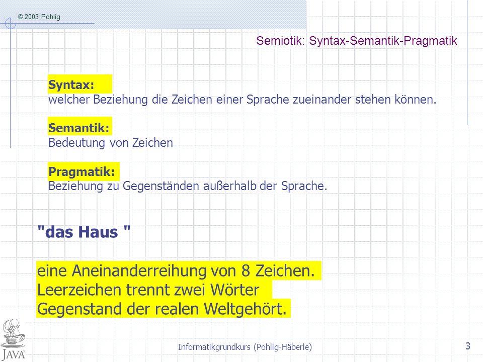 © 2003 Pohlig Informatikgrundkurs (Pohlig-Häberle) 4 5.2 Sprachenvielfalt