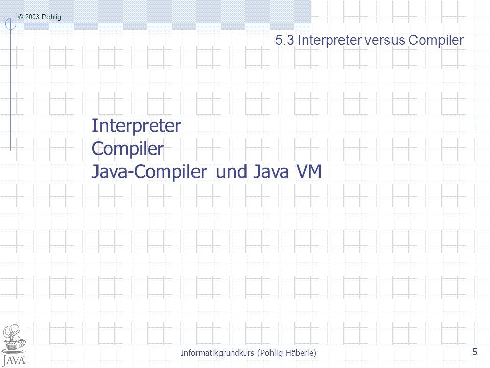 © 2003 Pohlig Informatikgrundkurs (Pohlig-Häberle) 5 5.3 Interpreter versus Compiler Interpreter Compiler Java-Compiler und Java VM
