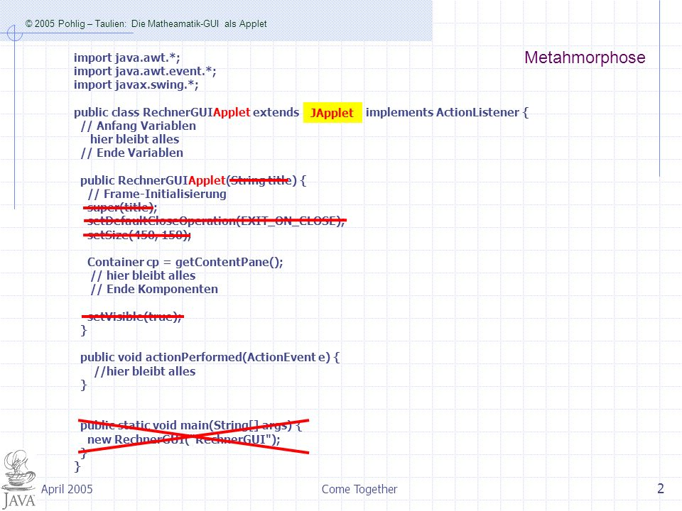 © 2005 Pohlig – Taulien: Die Matheamatik-GUI als Applet Come Together 3 April 2005 Nach dem erfolgreichen Kompilieren Wird im gleichen Verzeichnis erzeugt