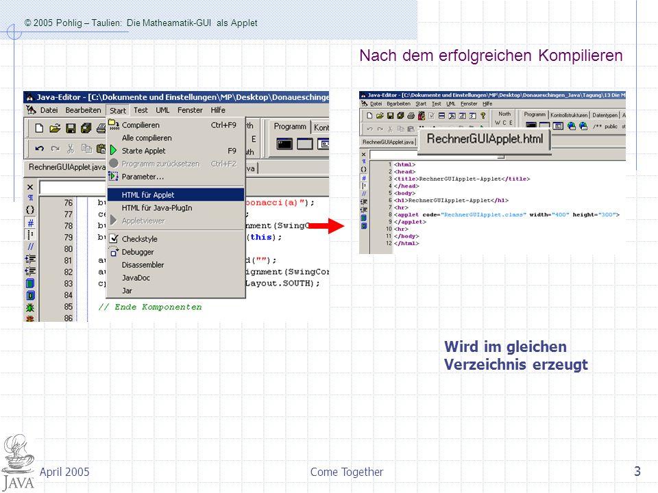 © 2005 Pohlig – Taulien: Die Matheamatik-GUI als Applet Come Together 3 April 2005 Nach dem erfolgreichen Kompilieren Wird im gleichen Verzeichnis erzeugt