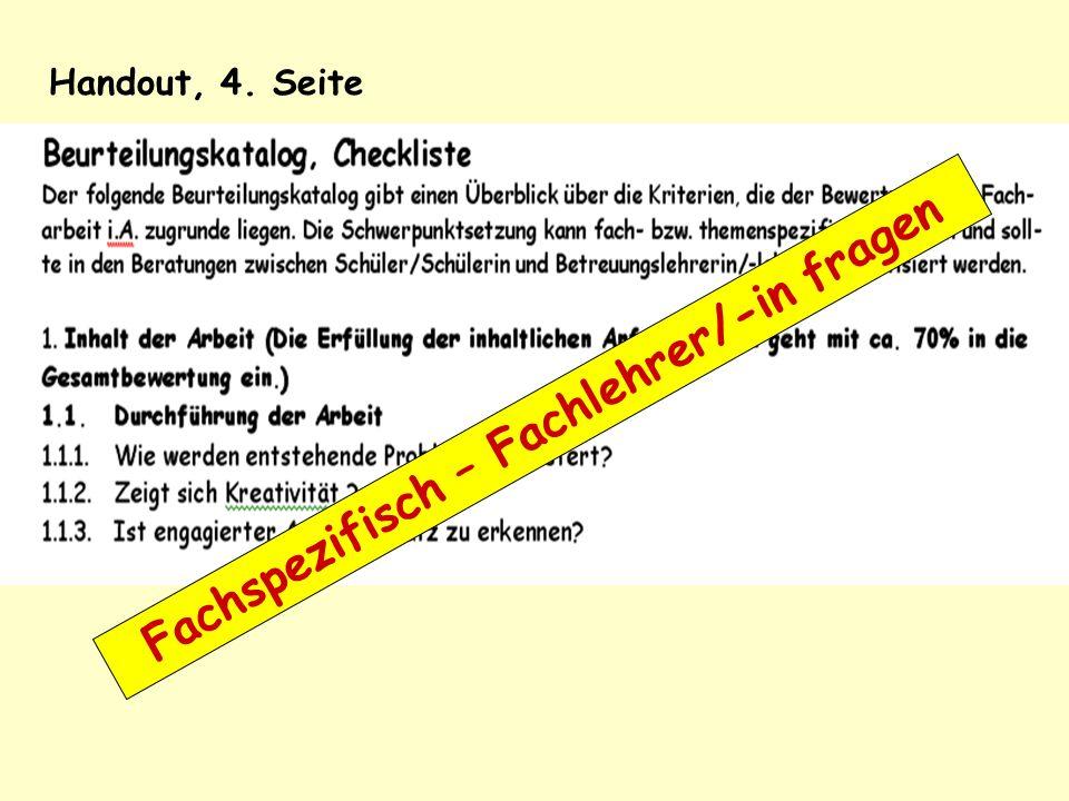 Handout, 4. Seite Fachspezifisch – Fachlehrer/-in fragen