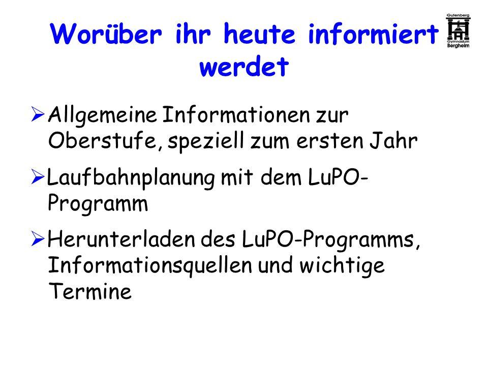 Worüber ihr heute informiert werdet Allgemeine Informationen zur Oberstufe, speziell zum ersten Jahr Laufbahnplanung mit dem LuPO- Programm Herunterla