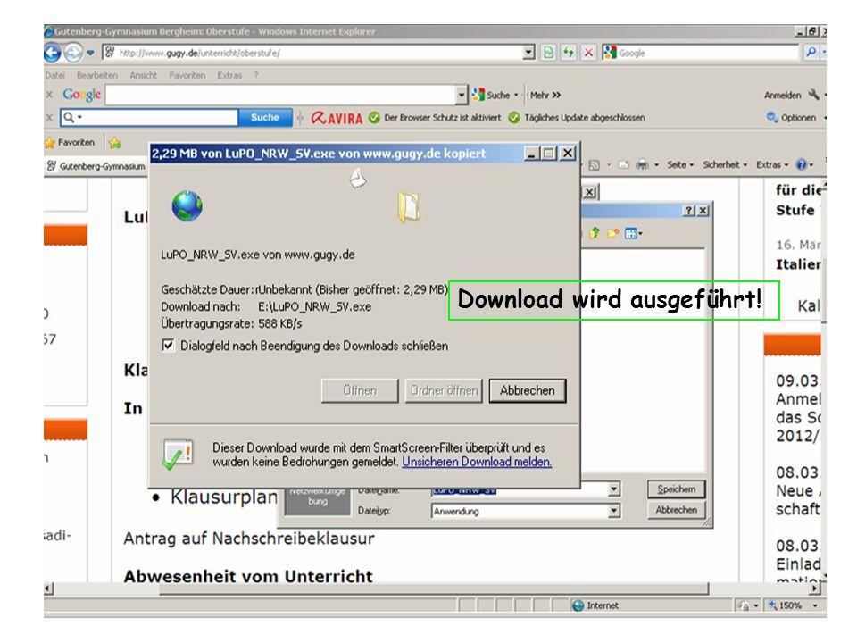 Download wird ausgeführt!