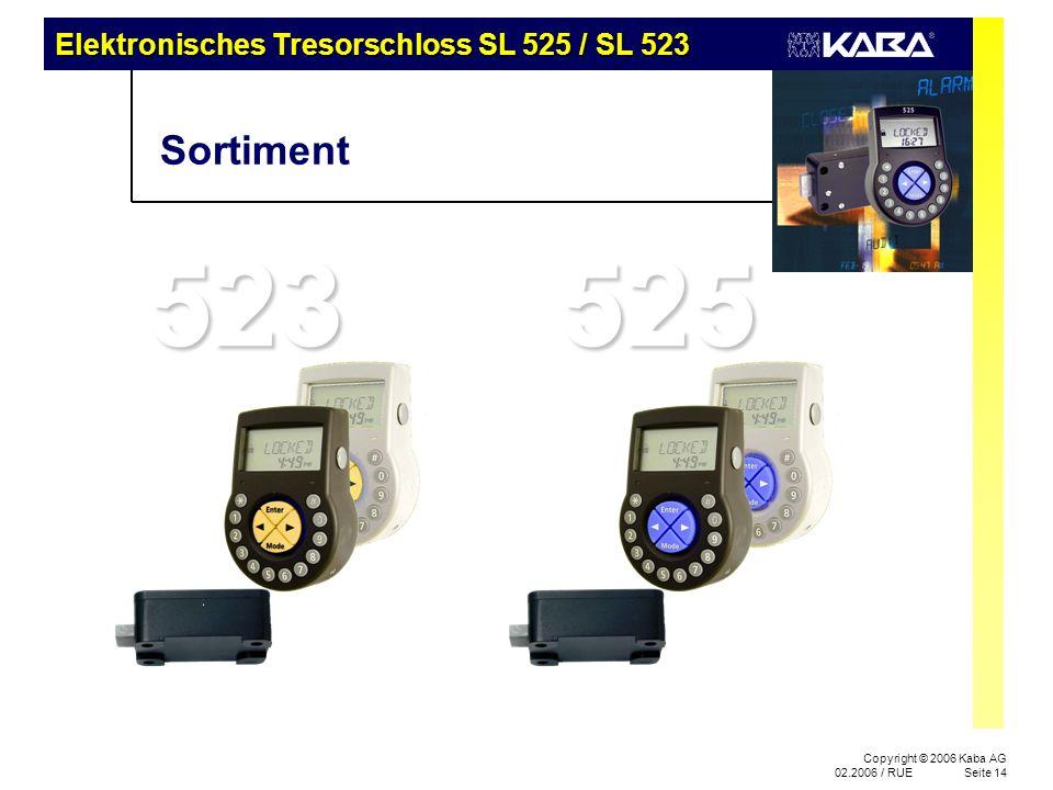 Copyright © 2006 Kaba AG 02.2006 / RUESeite 14 523 Sortiment 525