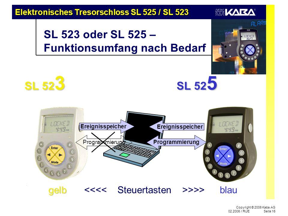 Elektronisches Tresorschloss SL 525 / SL 523 Copyright © 2006 Kaba AG 02.2006 / RUESeite 16 Ereignisspeicher SL 523 oder SL 525 – Funktionsumfang nach Bedarf SL 52 3 SL 52 5 SL 52 3 SL 52 5 Ereignisspeicher Programmierung gelb gelb >>> blau