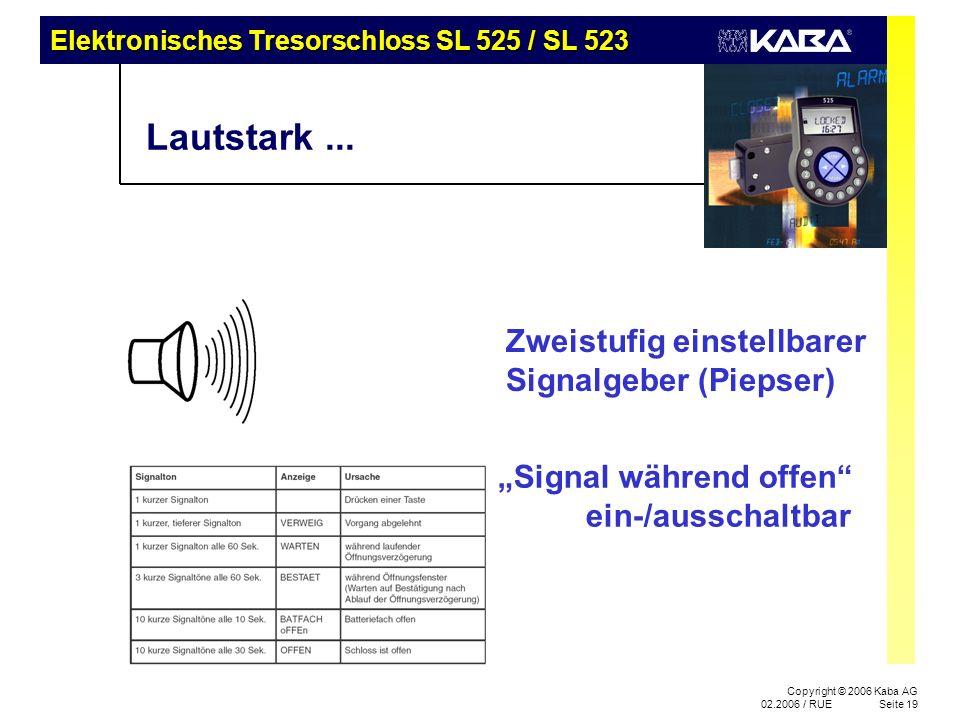 Elektronisches Tresorschloss SL 525 / SL 523 Copyright © 2006 Kaba AG 02.2006 / RUESeite 19 Lautstark... Zweistufig einstellbarer Signalgeber (Piepser