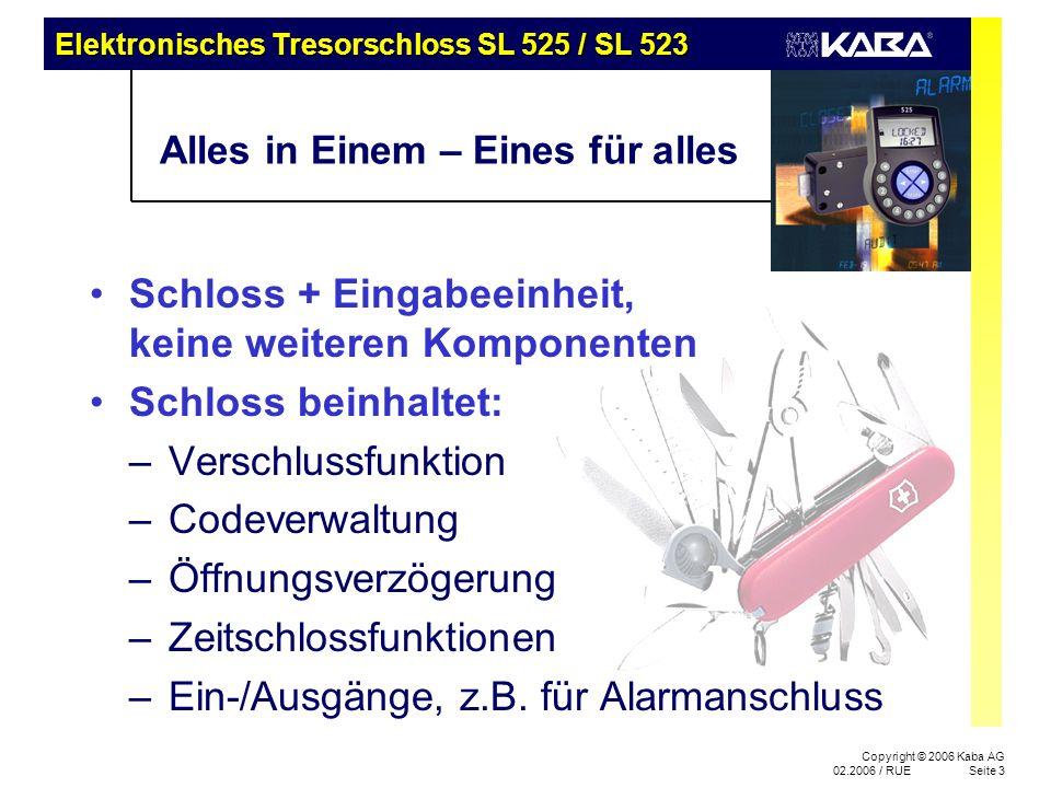 Elektronisches Tresorschloss SL 525 / SL 523 Copyright © 2006 Kaba AG 02.2006 / RUESeite 3 Alles in Einem – Eines für alles Schloss + Eingabeeinheit, keine weiteren Komponenten Schloss beinhaltet: –Verschlussfunktion –Codeverwaltung –Öffnungsverzögerung –Zeitschlossfunktionen –Ein-/Ausgänge, z.B.
