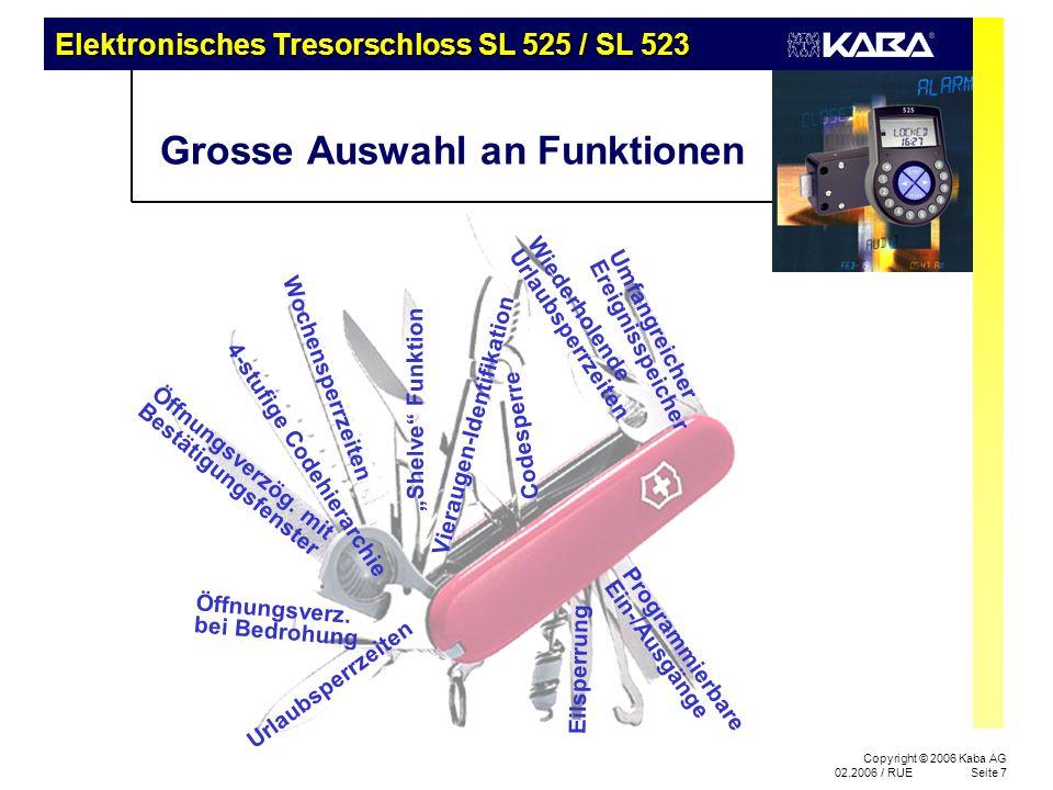 Elektronisches Tresorschloss SL 525 / SL 523 Copyright © 2006 Kaba AG 02.2006 / RUESeite 7 Grosse Auswahl an Funktionen 4-stufige Codehierarchie Umfan