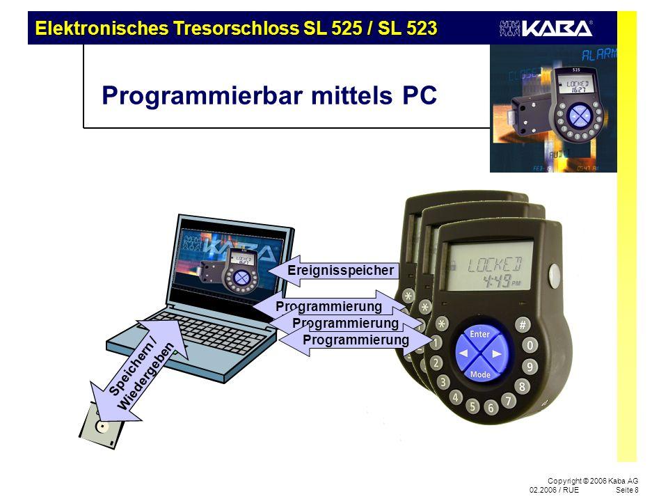 Elektronisches Tresorschloss SL 525 / SL 523 Copyright © 2006 Kaba AG 02.2006 / RUESeite 8 Programmierbar mittels PC Speichern / Wiedergeben Ereignisspeicher Programmierung