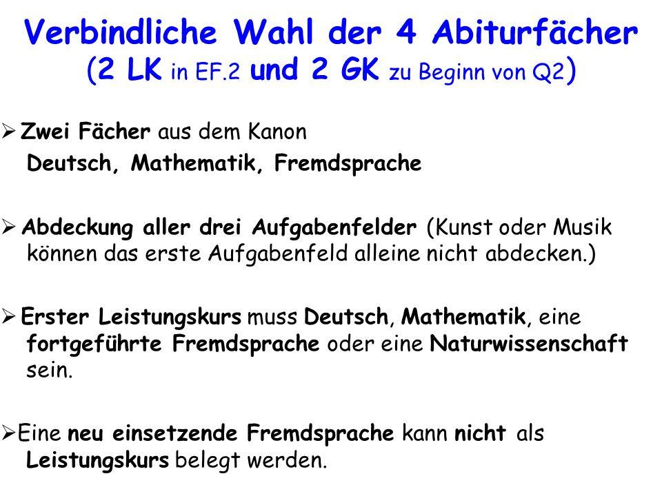 Zwei Fächer aus dem Kanon Deutsch, Mathematik, Fremdsprache Abdeckung aller drei Aufgabenfelder (Kunst oder Musik können das erste Aufgabenfeld allein