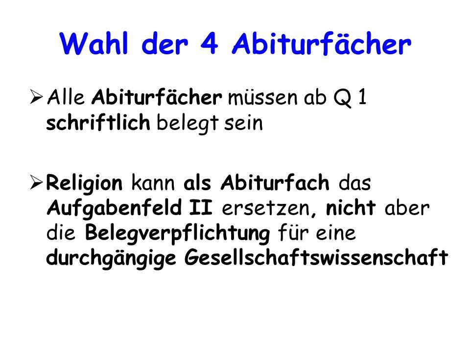 Wahl der 4 Abiturfächer Alle Abiturfächer müssen ab Q 1 schriftlich belegt sein Religion kann als Abiturfach das Aufgabenfeld II ersetzen, nicht aber
