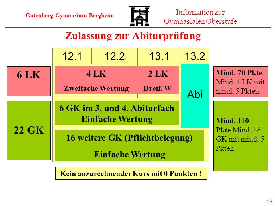 Gutenberg Gymnasium Bergheim Information zur Gymnasialen Oberstufe 16 Zulassung zur Abiturprüfung 6 LK 22 GK 12.112.213.113.2 Abi 4 LK Zweifache Wertu