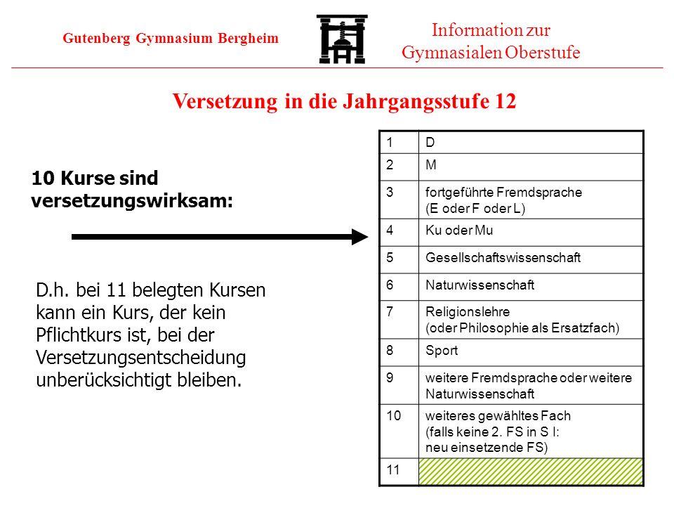 Gutenberg Gymnasium Bergheim Information zur Gymnasialen Oberstufe 10 Kurse sind versetzungswirksam: D.h. bei 11 belegten Kursen kann ein Kurs, der ke