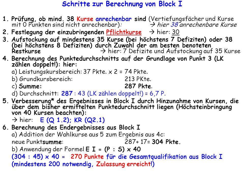 Schritte zur Berechnung von Block I 1. Prüfung, ob mind. 38 Kurse anrechenbar sind (Vertiefungsfächer und Kurse mit 0 Punkten sind nicht anrechenbar):