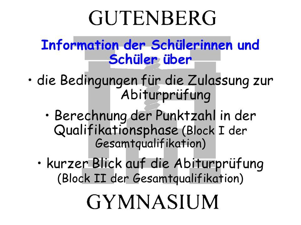 Der Aufbau der gymnasialen Oberstufe Abiturzeugnis (Ergebnisse aus Block I und II) Abiturprüfungen (Block II) Zulassung zu den Abiturprüfungen 1.