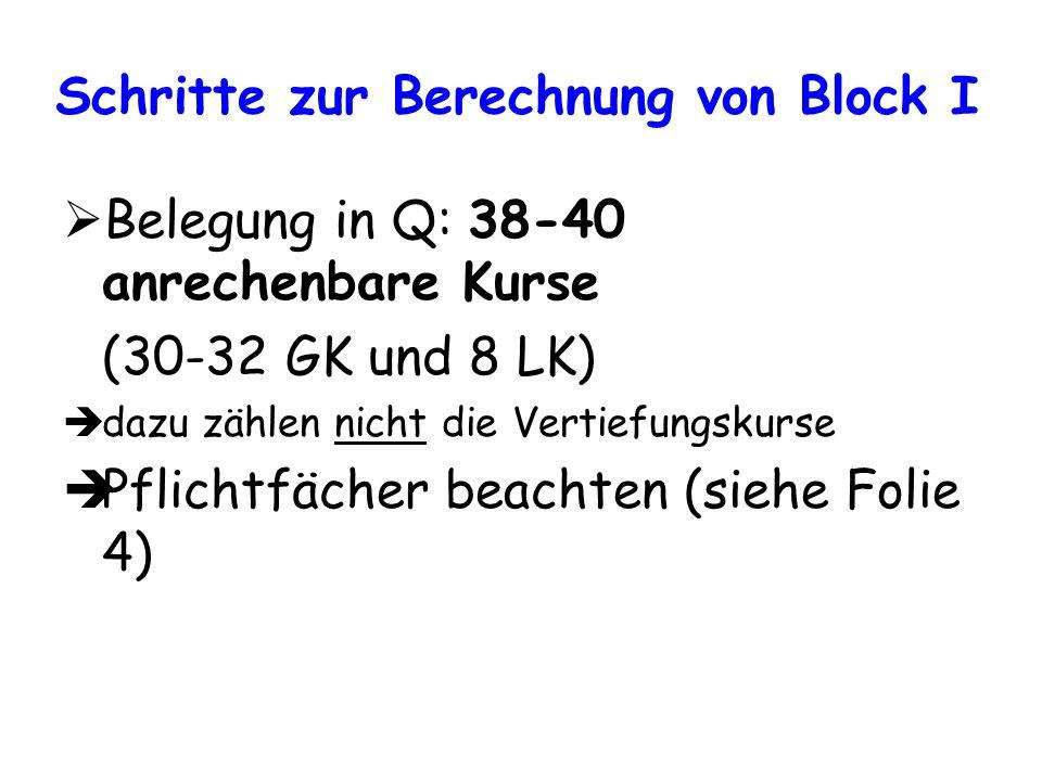 Schritte zur Berechnung von Block I Belegung in Q: 38-40 anrechenbare Kurse (30-32 GK und 8 LK) dazu zählen nicht die Vertiefungskurse Pflichtfächer b