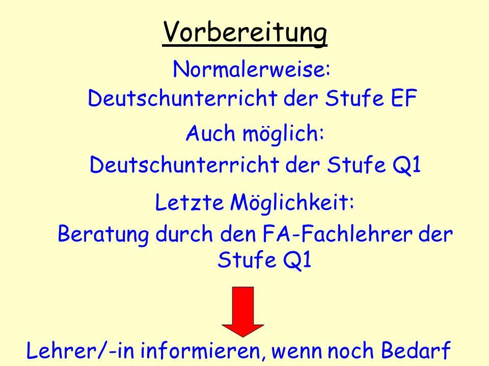 Vorbereitung Normalerweise: Deutschunterricht der Stufe EF Auch möglich: Deutschunterricht der Stufe Q1 Lehrer/-in informieren, wenn noch Bedarf Letzt