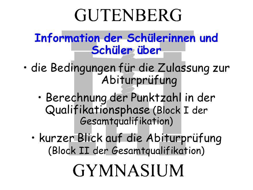 Information der Schülerinnen und Schüler über die Bedingungen für die Zulassung zur Abiturprüfung Berechnung der Punktzahl in der Qualifikationsphase