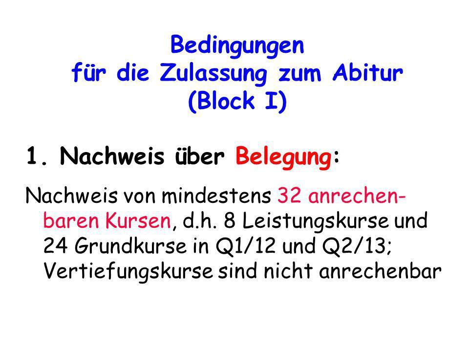 Bedingungen für die Zulassung zum Abitur (Block I) 1. Nachweis über Belegung: Nachweis von mindestens 32 anrechen- baren Kursen, d.h. 8 Leistungskurse