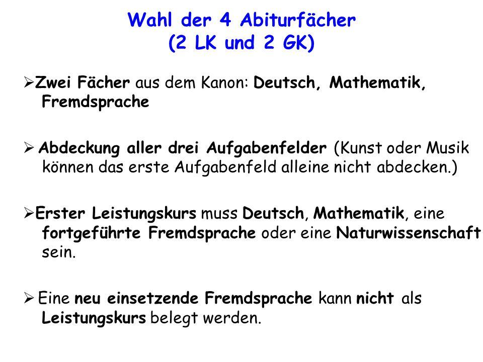 Zwei Fächer aus dem Kanon: Deutsch, Mathematik, Fremdsprache Abdeckung aller drei Aufgabenfelder (Kunst oder Musik können das erste Aufgabenfeld alleine nicht abdecken.) Erster Leistungskurs muss Deutsch, Mathematik, eine fortgeführte Fremdsprache oder eine Naturwissenschaft sein.
