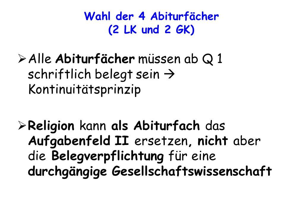 Alle Abiturfächer müssen ab Q 1 schriftlich belegt sein Kontinuitätsprinzip Religion kann als Abiturfach das Aufgabenfeld II ersetzen, nicht aber die