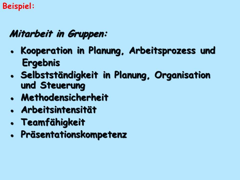 Mitarbeit in Gruppen: Kooperation in Planung, Arbeitsprozess und Kooperation in Planung, Arbeitsprozess und Ergebnis Ergebnis Selbstständigkeit in Pla