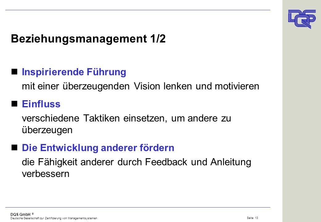 DQS GmbH Deutsche Gesellschaft zur Zertifizierung von Managementsystemen Seite 12 Soziales Bewusstsein Empathie die Emotionen anderer wahrnehmen, ihre