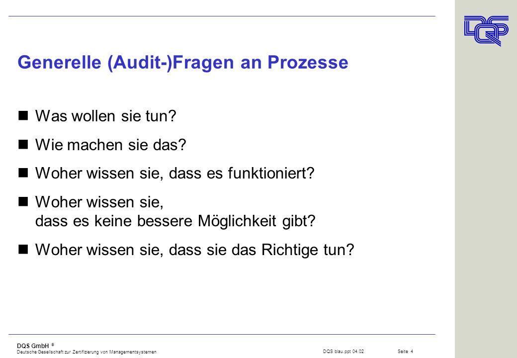 DQS GmbH Deutsche Gesellschaft zur Zertifizierung von Managementsystemen Seite 3 Neue Forderung der ISO 9001:2000 ?! Die Organisation muss a)die notwe