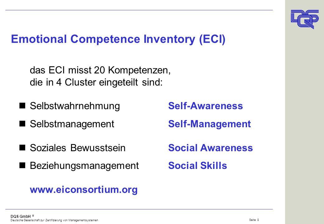DQS GmbH Deutsche Gesellschaft zur Zertifizierung von Managementsystemen Seite 7 Daniel Goleman EQ2 - Der Erfolgsquotient (1998) Eine emotionale Kompe