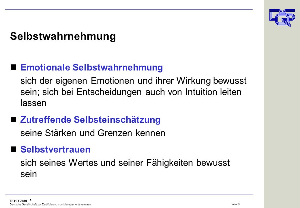 DQS GmbH Deutsche Gesellschaft zur Zertifizierung von Managementsystemen Seite 8 Emotional Competence Inventory (ECI) das ECI misst 20 Kompetenzen, di