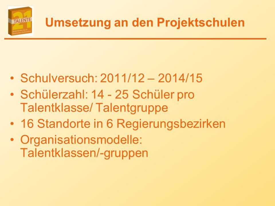 Umsetzung an den Projektschulen Schulversuch: 2011/12 – 2014/15 Schülerzahl: 14 - 25 Schüler pro Talentklasse/ Talentgruppe 16 Standorte in 6 Regierungsbezirken Organisationsmodelle: Talentklassen/-gruppen
