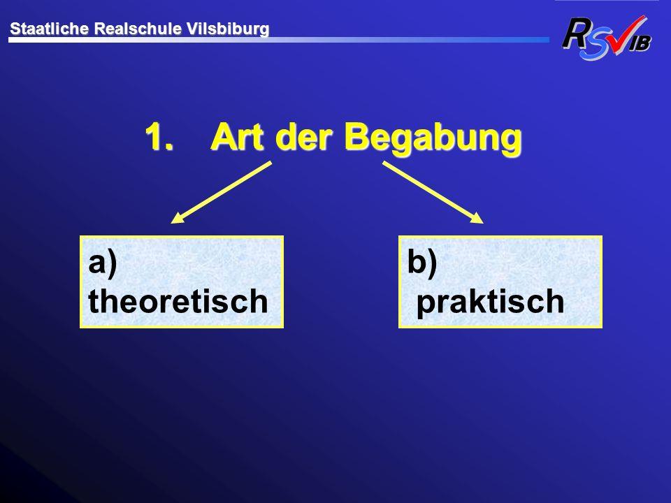 1. Art der Begabung a) theoretisch b) praktisch Staatliche Realschule Vilsbiburg