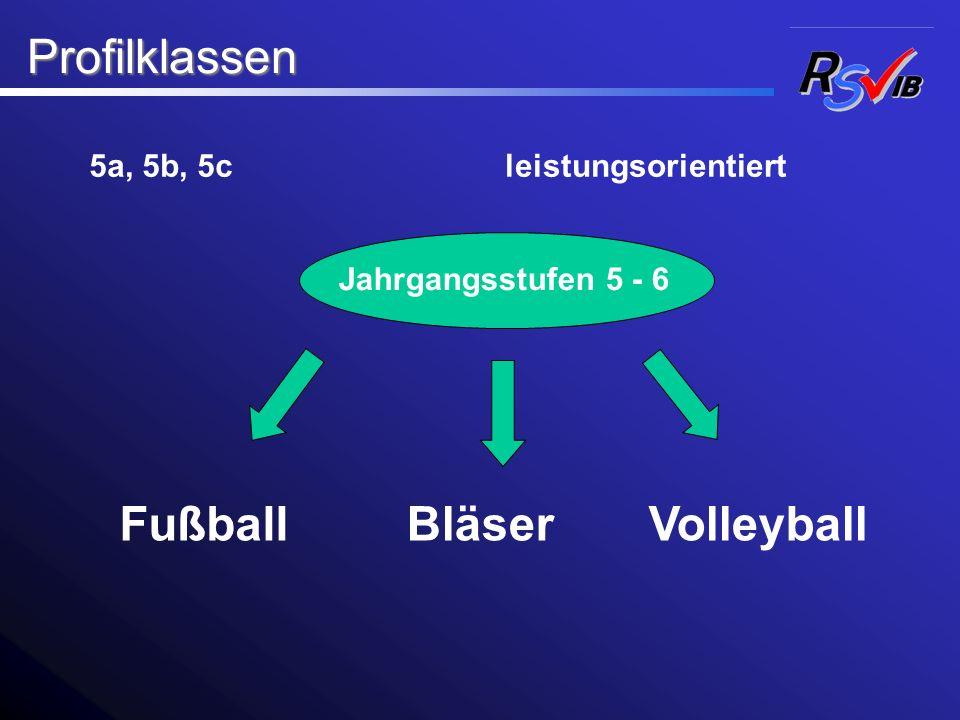 Profilklassen Profilklassen FußballBläser 5a, 5b, 5c Volleyball leistungsorientiert Jahrgangsstufen 5 - 6