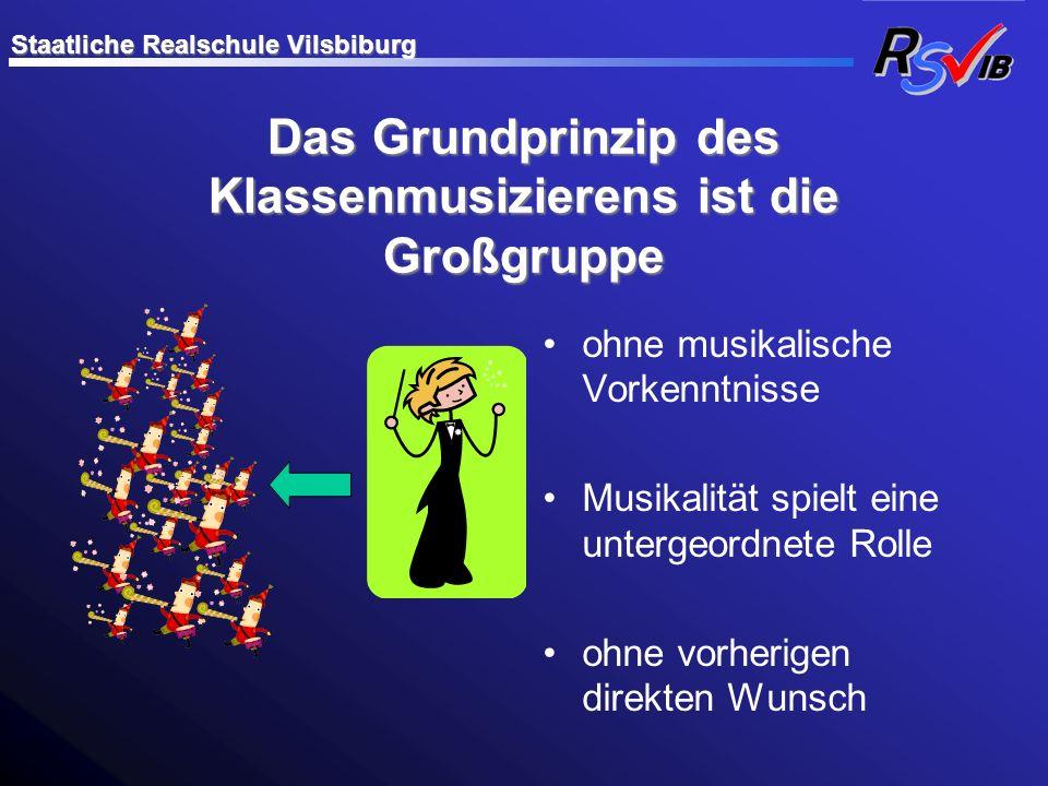 Das Grundprinzip des Klassenmusizierens ist die Großgruppe ohne musikalische Vorkenntnisse Musikalität spielt eine untergeordnete Rolle ohne vorherige