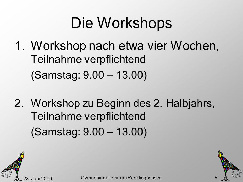 23. Juni 2010 Gymnasium Petrinum Recklinghausen 5 Die Workshops 1.Workshop nach etwa vier Wochen, Teilnahme verpflichtend (Samstag: 9.00 – 13.00) 2.Wo
