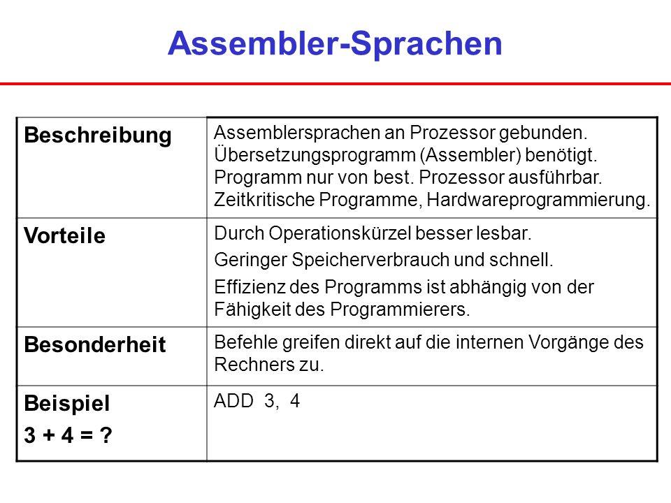 Assembler-Sprachen Beschreibung Assemblersprachen an Prozessor gebunden. Übersetzungsprogramm (Assembler) benötigt. Programm nur von best. Prozessor a