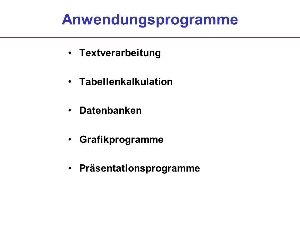 Textverarbeitung Verwalten von vorhandenen Texten Eingabe von Texten Änderung von bestehenden Texten Formatierung von Texten Zeichenformatierung wie Schriftart und –attribute Absatzformatierung wie Zeilenabstand und Ausrichtung Seitenformatierung wie Papierformat und Ränder Drucken von Texten