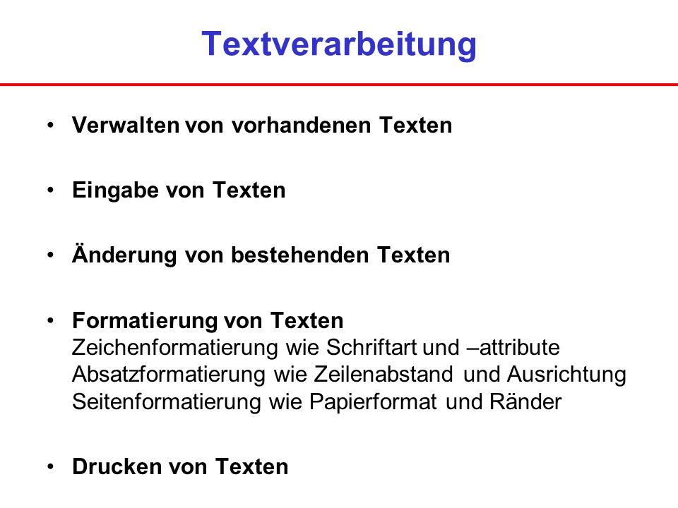 Textverarbeitung Verwalten von vorhandenen Texten Eingabe von Texten Änderung von bestehenden Texten Formatierung von Texten Zeichenformatierung wie S