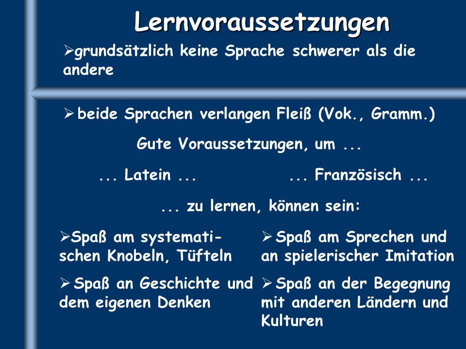 Lernvoraussetzungen grundsätzlich keine Sprache schwerer als die andere beide Sprachen verlangen Fleiß (Vok., Gramm.) Gute Voraussetzungen, um...... L